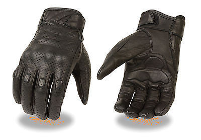 MOTORCYCLE MEN'S RIDING GLOVES SOFT LEATHER BLACK W/ SOFT KNUCKLES GEL PALM