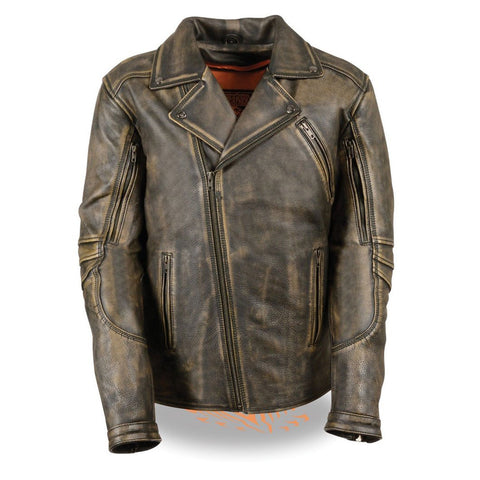 MEN'S MOTORCYCLE BELTLESS DISTRESSED BROWN LEATHER JACKET BUTTER SOFT LEATHER
