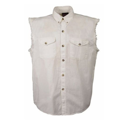 MEN'S MOTORCYCLE WHITE COTTON SLEEVELESS CUT OFF SHIRT WITH FRAYED SLEEVES NEW