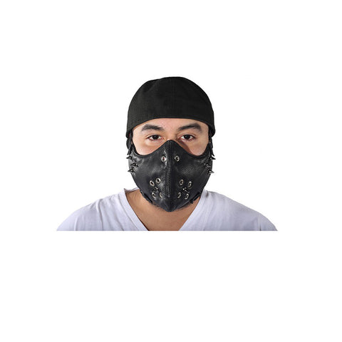 Black Leather Biker Face Mask With Spikes