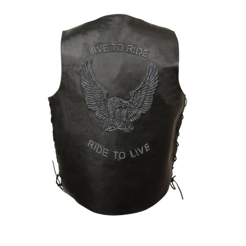 MEN'S BLACK RIDE TO LIVE EMBROIDERED VEST W/SIDE LACES