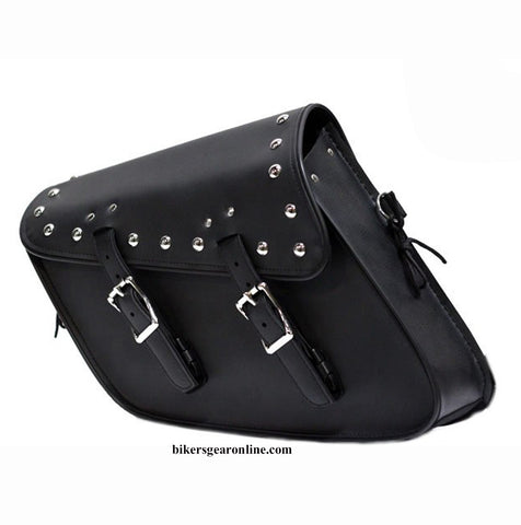 2 STRAP STUDDED SWING ARM PVC SADDLEBAG