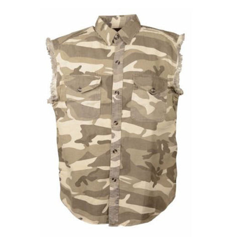 MEN'S MOTORCYCLE SAND CAMO COTTON SLEEVELESS CUT OFF SHIRT WITH FRAYED SLEEVES
