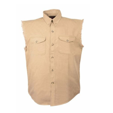 MEN'S MOTORCYCLE BEIGE COTTON SLEEVELESS CUT OFF SHIRT WITH FRAYED SLEEVES GREY