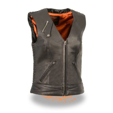LADIES MOTORCYCLE BLACK BUTTER SOFT LEATHER VEST W/ CRINKLE DETAILING SNAP FRONT