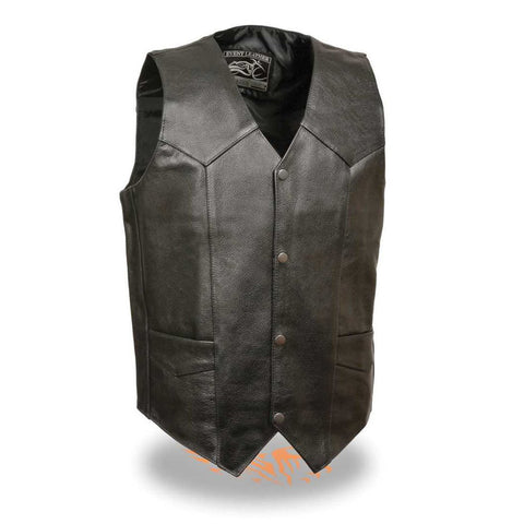 CLASSIC LEATHER VEST SNAP FRONT COWHIDE