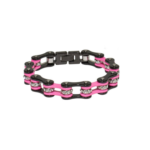 Black and Pink Motorcycle Chain Bracelet with Gemstones