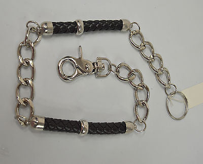 BIKERS CHROME STEEL JEANS WALLET KEY CHAIN 21 INCH W/ 2 LEATHER BRAIDED SECTIONS