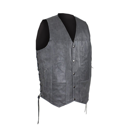 Men's Gray Club Vest with Concealed Carry Pockets & Side Laces