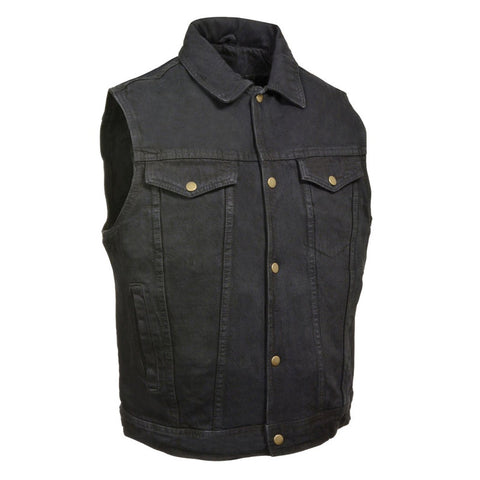 MEN'S MOTORCYCLE RIDING SHIRT COLLAR BLACK DENIM VEST 100% COTTON W/GUN POCKETS