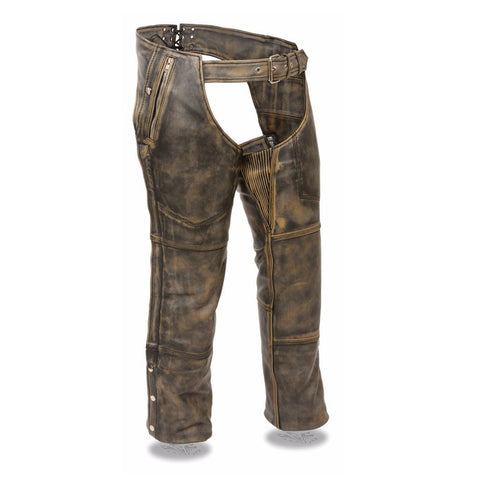 MEN'S MOTORCYCLE MOTORBIKE DISTRESSED BROWN LEATHER RIDING CHAP PANTS SOFT NEW