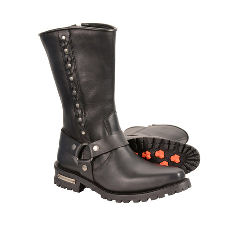 MEN'S REAL LEATHER J TOE MOTORCYCLE HARNESS BOOTS W/ LACING