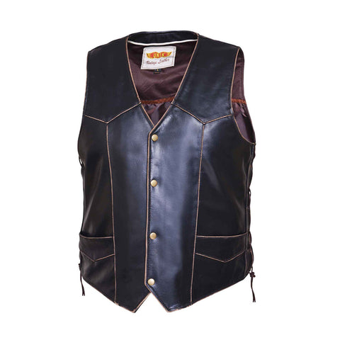 Mens traditional snap front VINTAGE BROWN vest
