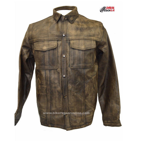 MEN'S LIGHTWEIGHT MOTORCYCLE LEATHER SHIRT DISTRESSED BROWN W/ GUN POCKET INSIDE