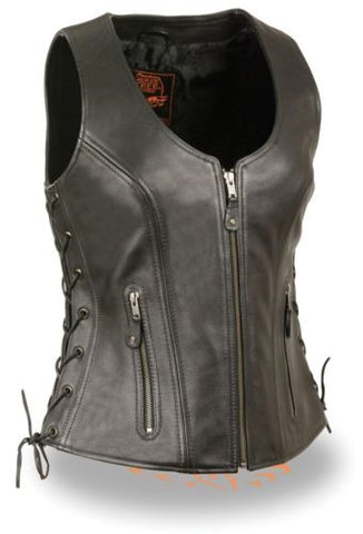 WOMEN'S MOTORCYCLE RIDERS BLACK BUTTER SOFT LEATHER VEST W/ SIDE LACES NEW BLACK
