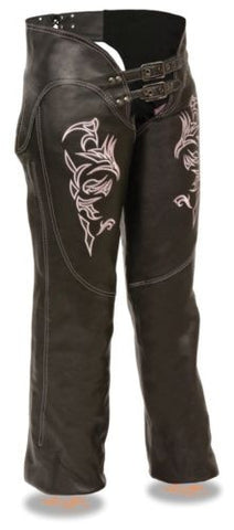 WOMEN'S MOTORCYCLE MOTORBIKE LEATHER CHAP W PINK EMBROIDERY REFLECTIVE BLACK NEW
