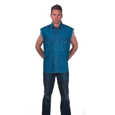 MEN'S MOTORCYCLE BLUE COLOR COTTON SLEEVELESS CUT OFF SHIRT WITH FRAYED SLEEVES