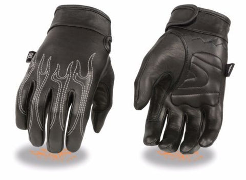 MEN'S MOTORCYCLE RIDING BUTTER SOFT GLOVES W/ FLAME EMBROIDERED BLACK NEW