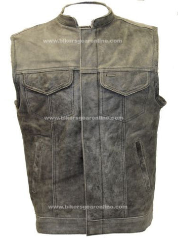 MEN'S MOTORCYCLE DISTRESSED GREY SON OF ANARCHY STYLE LEATHER VEST GUN POCKETS