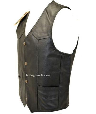 MEN'S MOTORCYCLE BIKERS COWHIDE PLAIN LEATHER VEST W/ 2 GUN POCKETS BLACK