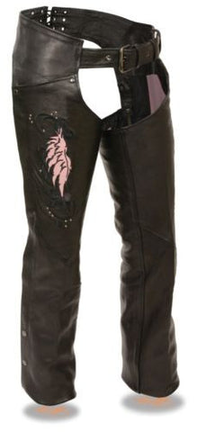 WOMEN'S MOTORCYCLE MOTORBIKE LEATHER CHAP W/PINK EMBROIDERY REFLECTIVE BLACK NEW