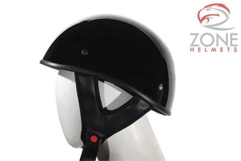 MOTORCYCLE MOTORBIKE DOT APPROVED SHINY HALF RIDING HELMET LIGHTWEIGHT BLACK NEW