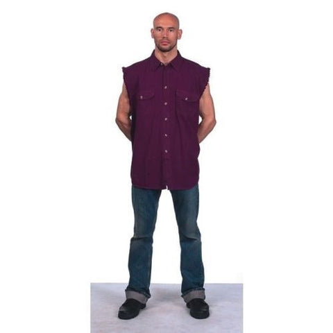 MEN'S MOTORCYCLE BURG COLOR COTTON SLEEVELESS CUT OFF SHIRT WITH FRAYED SLEEVES