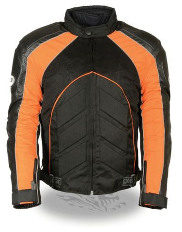 MEN'S MOTORCYCLE BLK/ORANGE FULLY ARMOUR COMBO TEXTILE/ LEATHER JACKET BLACK NEW