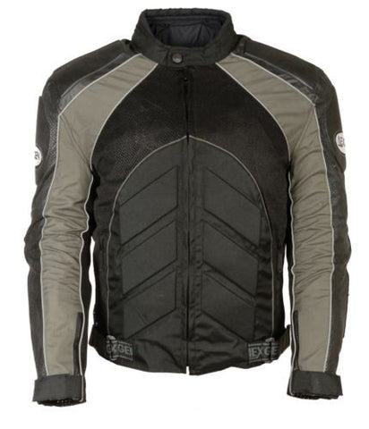 MEN'S MOTORCYCLE BLK/ GREY FULLY ARMOUR COMBO TEXTILE/ LEATHER JACKET BLACK NEW