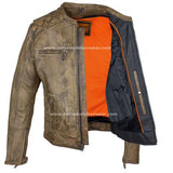MEN'S MOTORCYCLE RIDING DISTRESSED BROWN LEATHER JACKET W/ ZIP-OUT LINER