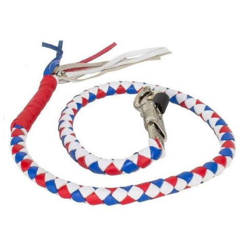 "BIKER RED WHITE BLUE 40"" LEATHER GET BACK WHIP MOTORCYCLE WHIP OLD SCHOOL"