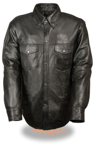 MEN'S LIGHTWEIGHT LEATHER SHIRT COWHIDE LEATHER MOTORCYCLE RIDER SHIRT NEW BLACK