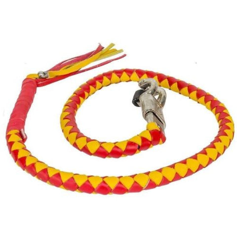 "BIKER YELLOW & RED 40"" LEATHER GET BACK WHIP BIKER MOTORCYCLE WHIP OLD SCHOOL"