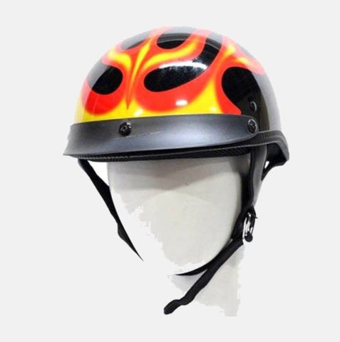 MOTORCYCLE MOTORBIKE 200 DOT APPROVED HELMET W/ FLAME GRAPHICS BLACK NEW