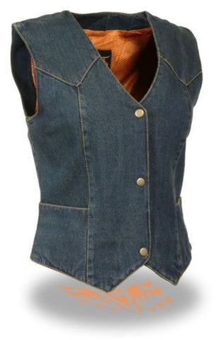 WOMEN'S MOTORCYCLE LADIES RIDER DENIM VEST 100% COTTON 4 SNAP FRONT BLUE NEW