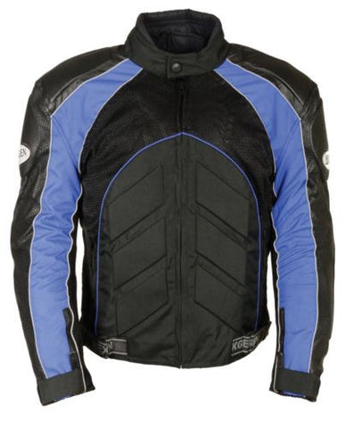 MEN'S MOTORCYCLE BLK/ BLUE FULLY ARMOUR COMBO TEXTILE/ LEATHER JACKET BLACK NEW
