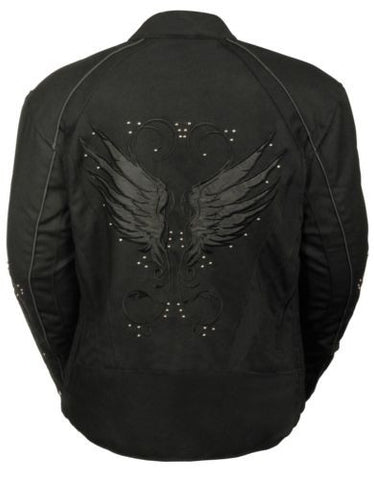 WOMEN'S MOTORBIKE MOTORCYCLE RIDING BLACK TEXTILE JACKET W STUD & WING