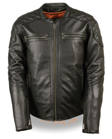 MEN'S MOTORCYCLE MOTORBIKE FULL SIDE LACE LEATHER POLICE JACKET SOFT BLACK NEW