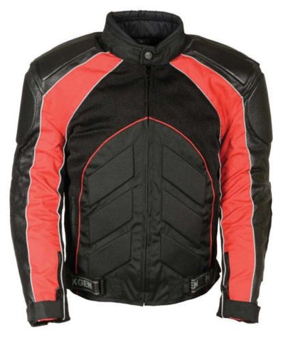 MEN'S MOTORCYCLE BLK/ RED FULLY ARMOUR COMBO TEXTILE/ LEATHER JACKET BLACK NEW
