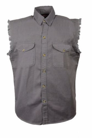 MEN'S MOTORCYCLE GREY COTTON SLEEVELESS CUT OFF SHIRT WITH FRAYED SLEEVES GREY