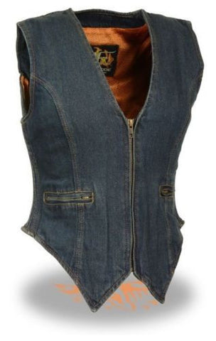 WOMEN'S MOTORCYCLE LADIES DENIM VEST 100% COTTON SIDE STRETCH BLUE NEW