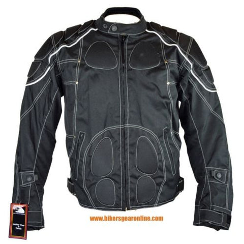 MEN'S MOTORCYCLE NYLON SCOOTER TEXTILE REFLECTIVE JACKET FULLY ARMOR REMOVABLE