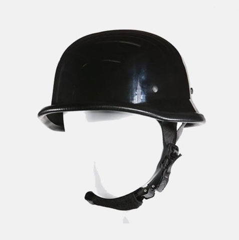 MOTORCYCLE GERMAN NOVELTY HELMET W/ CHIN STRAP BLACK COMFORTABLE NEW