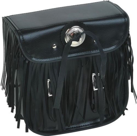 MOTORCYCLE MOTORBIKE BRAIDED FRINGES SISSY BAR TRAVEL BAG LUGGAGE NEW BLACK