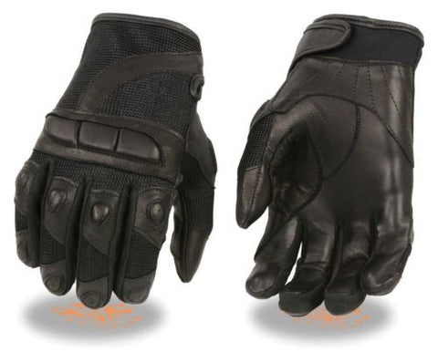 LADIES MOTORCYCLE RACING GLOVES MESH/ LEATHER COMBO W/ PADDED KNUCKLE PROTECTION