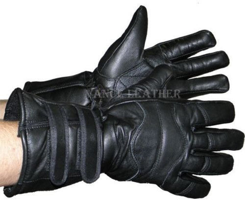 MEN'S MOTORCYCLE GLOVES RIDING INSULATED GAUNTLET GLOVE LAMB SKIN BLACK NEW