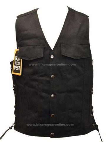 MEN'S BLACK MOTORCYCLE DENIM MOTORCYCLE CLUB VEST (LIGHTWEIGHT) GUN POCKETS NEW