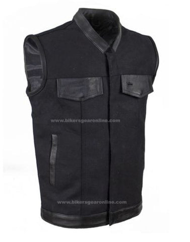 MEN'S MOTORCYCLE SON OF ANARCHY BLACK CANVAS VEST W/LEATHER TRIMMING & ZIPPER