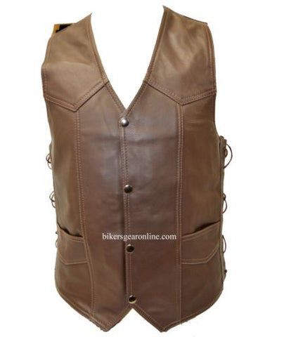 MEN'S MOTORCYCLE MOTORBIKE BROWN LEATHER VEST 6 POCKETS SIDE LACES SOFT LEATHER