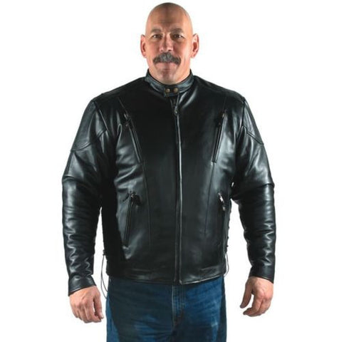 MEN'S MOTORCYCLE MOTORBIKE COWHIDE LEATHER JACKET VENTED ZIPOUT LINER BLACK NEW